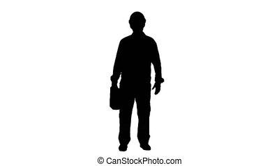 silhouette, matte., piste, dit, valise, appareil photo, constructeur, casque