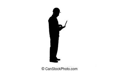 silhouette, matte., piste, séduisant, ingénieur, ordinateur portable, utilisation