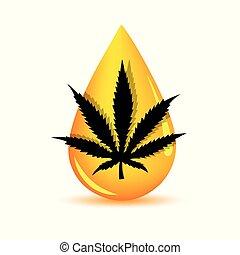 silhouette medicine cannabis oil drop vector illustration EPS10