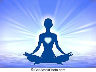 silhouette, meditazione, fondo, donna, blu