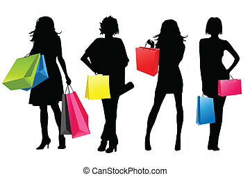 silhouette, meiden, shoppen