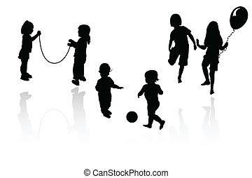 silhouette, meiden, spelend, jongens