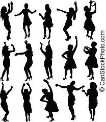 silhouette, meiden, vector, dancing