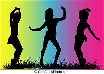 silhouette, meiden, vrolijke