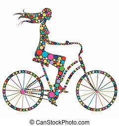 silhouette, meisje, fiets