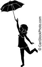silhouette, meisje, paraplu