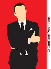 Silhouette men in suit - Man businessman in suit, with...
