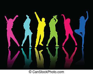 silhouette, mensen, feestje, dans
