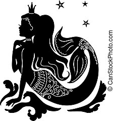 Silhouette mermaid sitting on the stone