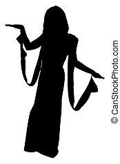 silhouette, met, knippend pad, van, egyptisch, vrouw
