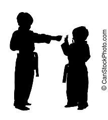 silhouette, met, knippend pad, van, kinderen, doen, martial arts