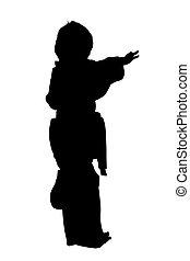 silhouette, met, knippend pad, van, martial arts, jongen
