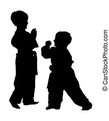 silhouette, met, knippend pad, van, martial arts, jongens