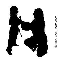 silhouette, met, knippend pad, van, martial arts, les