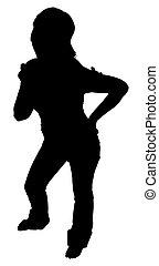 silhouette, met, knippend pad, van, staande vrouw
