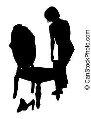 silhouette, met, knippend pad, van, vrouw, aankleding