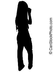 silhouette, met, knippend pad, van, vrouw