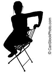 silhouette, met, knippend pad, van, vrouw zitten
