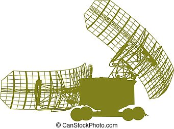Silhouette  military radar dish. Vector illustration.