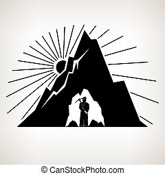 Silhouette Miner and Mountain - Miner Holding a Pickax in...
