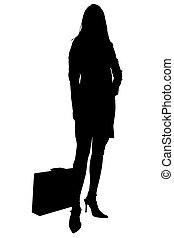 silhouette, mit, ausschnitt weg, von, frau, mit, aktentasche