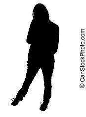silhouette, mit, ausschnitt weg, von, frauenansehen