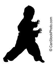 silhouette, mit, ausschnitt weg, von, jiu jitsu, junge