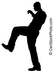 silhouette, mit, ausschnitt weg, von, mann, nehmen, treten