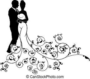 silhouette, modèle, résumé, palefrenier, mariée, mariage