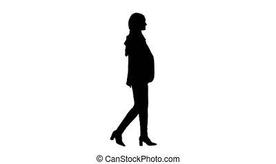 silhouette, modèle, sourire, femme, islamique, porter, regarder, hijab, marche, ahead.