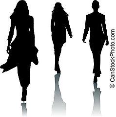silhouette, moda, donne