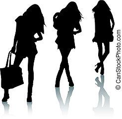 silhouette, moda, ragazze