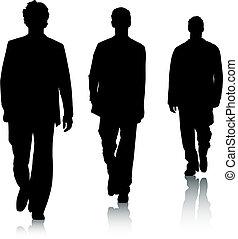 silhouette, moda, uomini