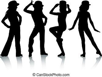silhouette, mode, enfants