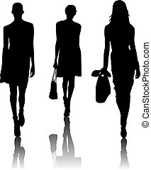 silhouette, mode, filles