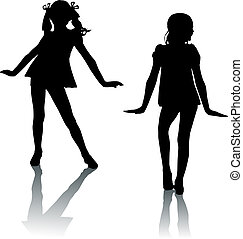 silhouette, mode, kinder