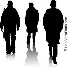 silhouette, mode, mannen