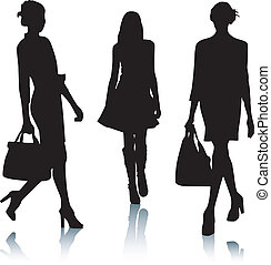 silhouette, mode, vrouwen
