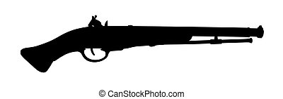 silhouette Model of the old gun on the white background