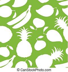 silhouette, modello, seamless, sfondo verde, frutte