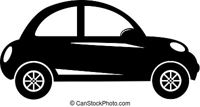 Silhouette modern city car side view isolated on white