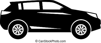 Silhouette modern SUV or crossover side view isolated on white