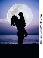 silhouette, moeder, moon., tone., groot, kleuren, aanzicht, kind, het genieten van, bovenkant, koel