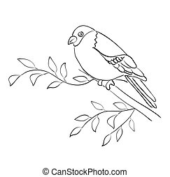 silhouette, moineau, asseoir, -, vecteur, branche, oiseau