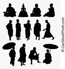 silhouette, monaco buddistico