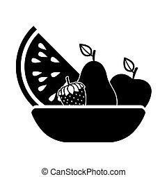 silhouette, monchrome, cesto, con, frutte