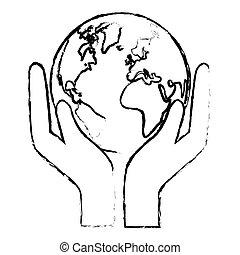 silhouette, mondiale, nature, conservancy, icône