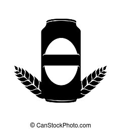 silhouette monochrome canned drink with ornament leaves vector illustration
