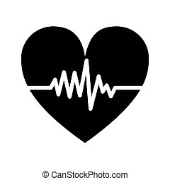 silhouette monochrome heart beat pulse vector illustration
