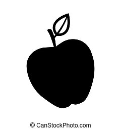 silhouette monochrome with apple fruit